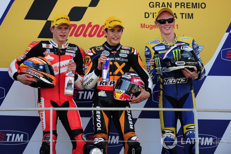 Podium : 1er Marc Márquez, 2e Stefan Bradl, 3e Bradley Smith