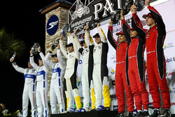 GTLM podium: winners Antonio Garcia, Jan Magnussen, Mike Rockenfeller, Corvette Racing, second place Joey Hand, Dirk Müller, Sébastien Bourdais, Ford Performance Chip Ganassi Racing, third place Toni Vilander, Giancarlo Fisichella, James Calado, Risi Competizione