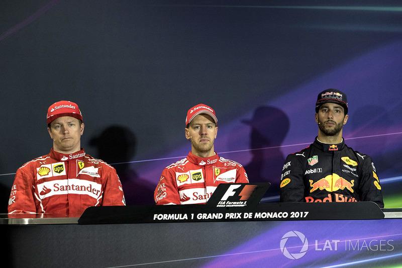 Прес-конференція: Кімі Райкконен, Ferrari, Себастьян Феттель, Ferrari та Даніель Ріккардо, Red Bull
