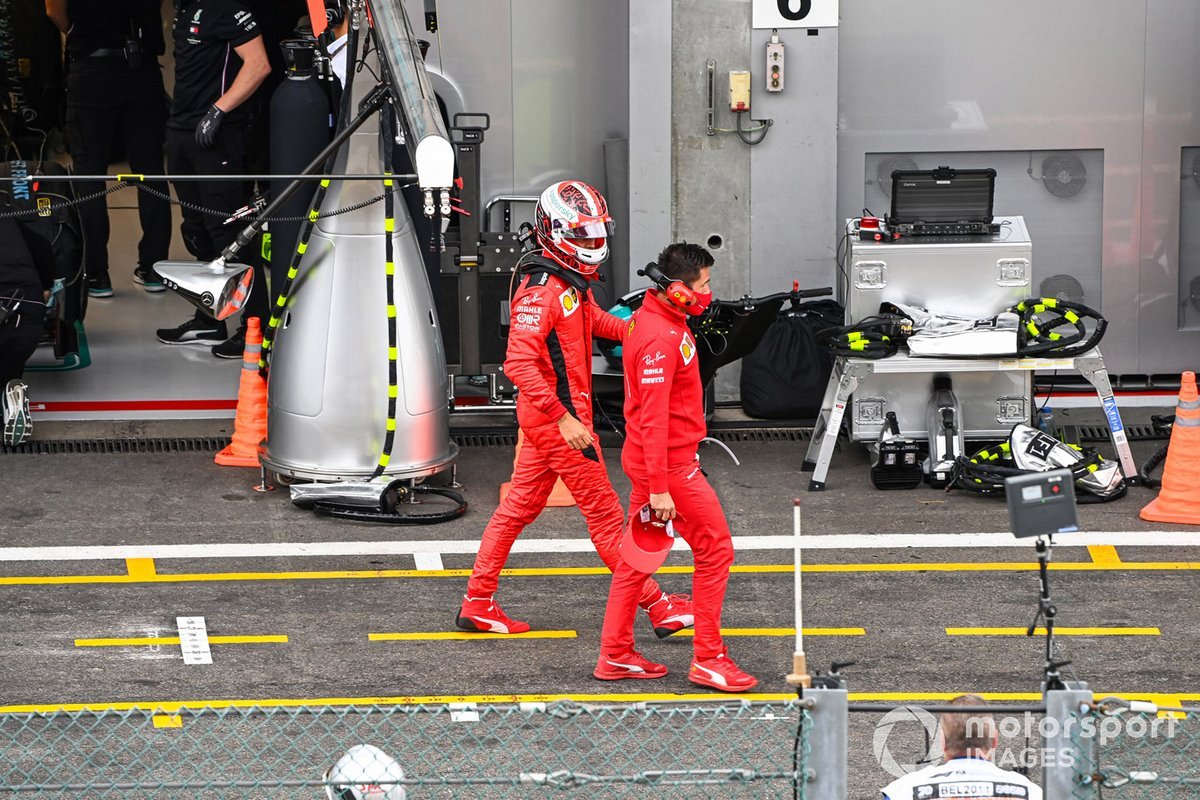 Charles Leclerc, Ferrari SF1000, in the pit lane after Q2