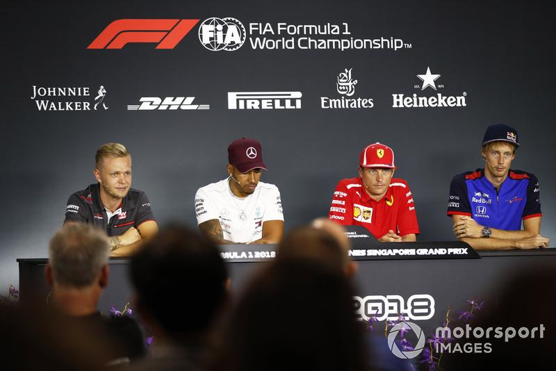 Kevin Magnussen, Haas F1 Team,Lewis Hamilton, Mercedes AMG F1, Kimi Raikkonen, Ferrari, Brendon Hartley, Scuderia Toro Rosso, nella conferenza stampa