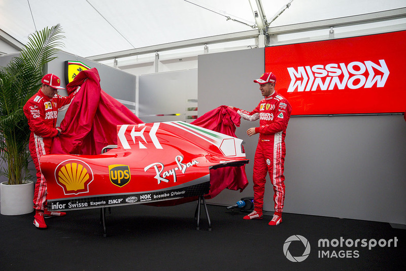 Kimi Raikkonen, Ferrari and Sebastian Vettel, Ferrari unveil the new Ferrari SF71H livery