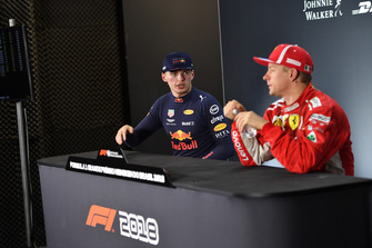 Max Verstappen, Red Bull Racing and Kimi Raikkonen, Ferrari in the press conference