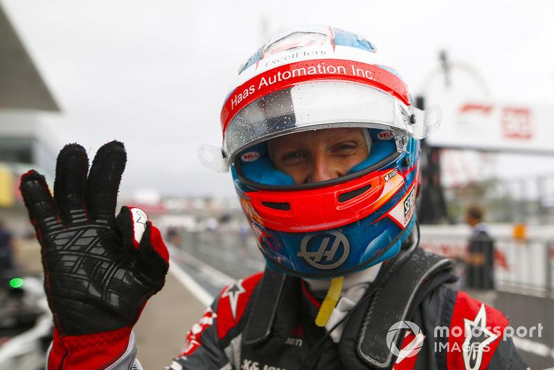 Romain Grosjean, Haas F1 Team, celebrates in parc ferme