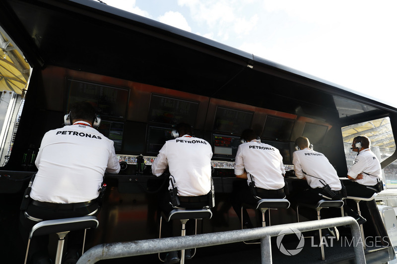The Mercedes AMG F1 Team , hierarchy on pit gantry
