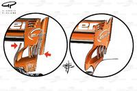 McLaren MCL32, comparación del alerón trasero