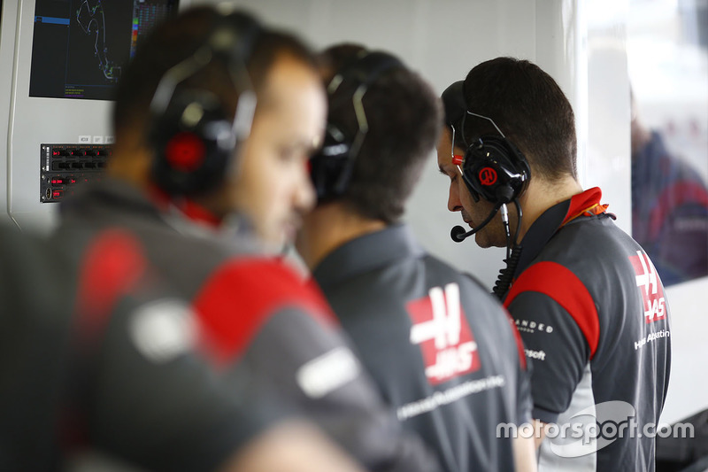 Haas F1 Team engineers in the garage