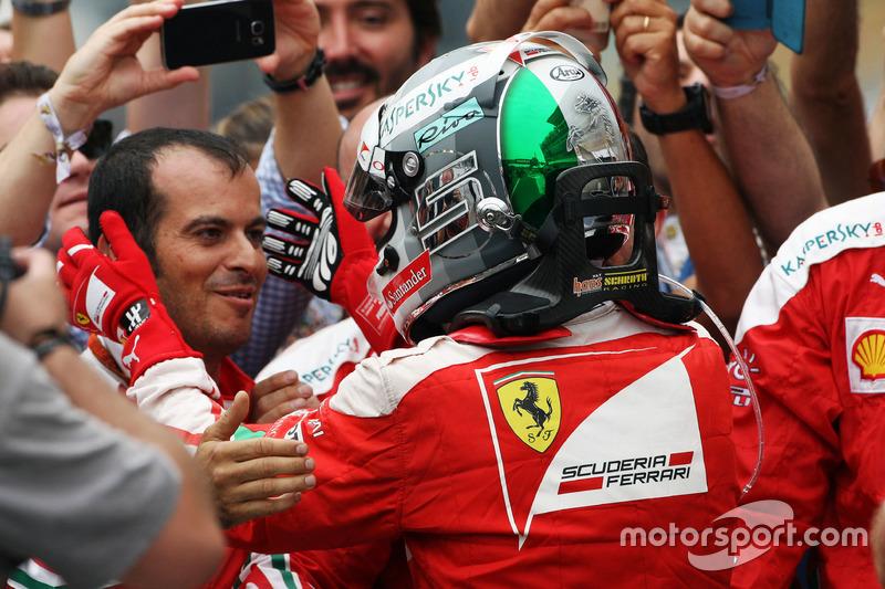 Sebastian Vettel, Ferrari celebrates his third position with the team in parc ferme