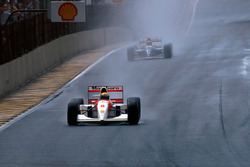 Ayrton Senna, McLaren MP4/8 leads second place finisher Damon Hill, Williams FW15C