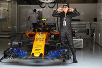 Actress Carina Lau in the McLaren garage