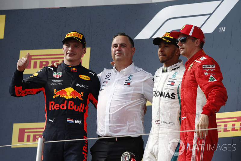 Max Verstappen, Red Bull Racing, Ron Meadows, Mercedes AMG F1 Team Manager, Lewis Hamilton, Mercedes-AMG F1 and Kimi Raikkonen, Ferrari celebrate on the podium