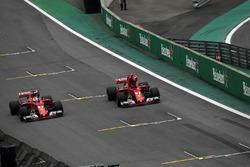 Sebastian Vettel, Ferrari SF70H and Kimi Raikkonen, Ferrari SF70H arrive to celebrate in parc ferme