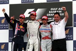 Podium: second place Sebastian Vettel, Red Bull Racing, Race winner Jenson Button, Brawn GP, third place Jarno Trulli,  Toyota, and Ron Meadows, Brawn GP Team Manager