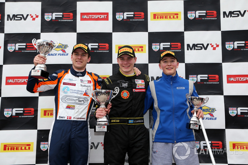 Podium: second place Nicolai Kjaergaard, Carlin BRDC British F3, Race winner Linus Lundqvist, Double R BRDC British F3, third place Billy Monger, Carlin