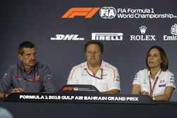 Guenther Steiner, Haas F1 Team Principal, Zak Brown, McLaren Executive Director and Claire Williams,