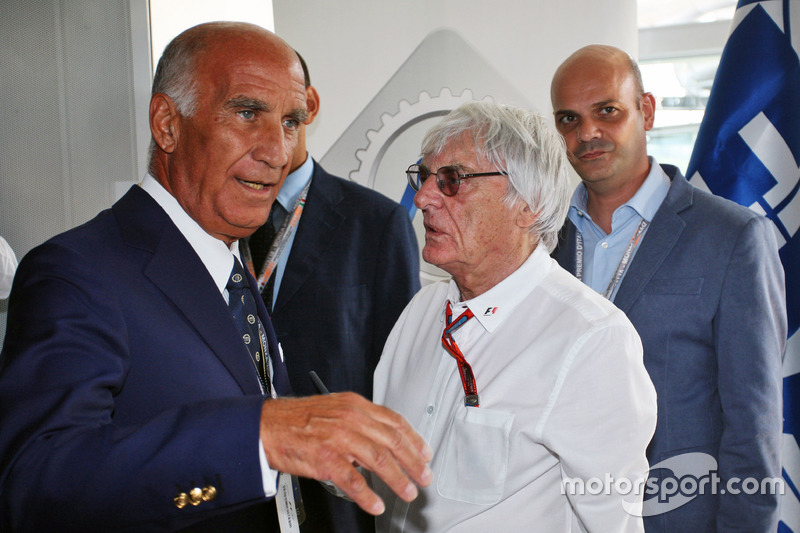 (L to R): Dr. Angelo Sticchi Damiani, ACI CSAI President with Bernie Ecclestone at a Monza circuit a