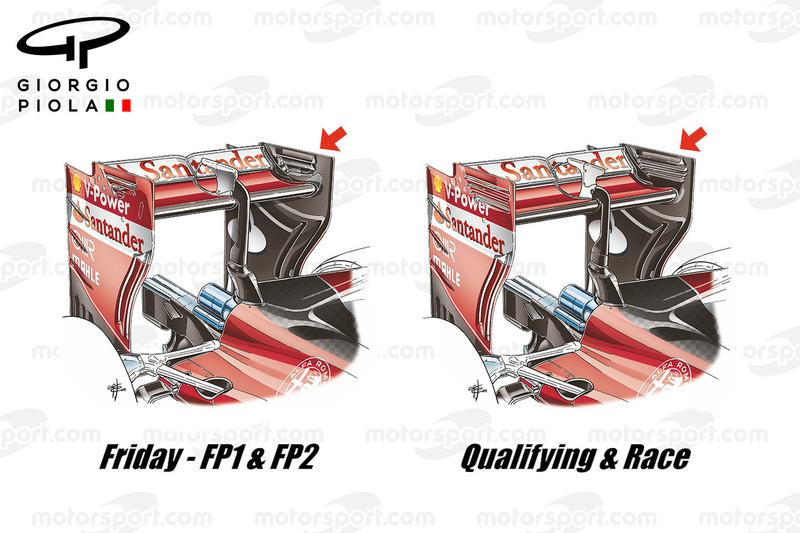 Ferrari SF16H, comparazione tra l'ala posteriore usata il venerdì e quella usta sabato e in gara al GP del Belgio