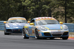#36 Strategic Wealth Racing Porsche Cayman: Matthew Dicken, Corey Lewis, #8 Rebel Rock Racing Porsch