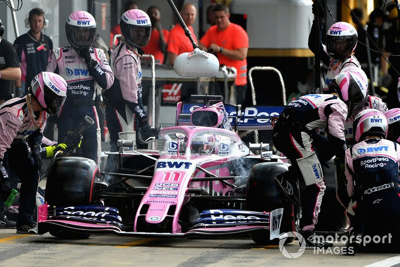Sergio Perez, Racing Point RP19, leaves the pits after a wing change