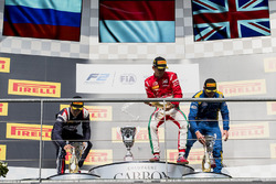 Podium: race winner Charles Leclerc, PREMA Powerteam, second place Artem Markelov, RUSSIAN TIME, third place Oliver Rowland, DAMS