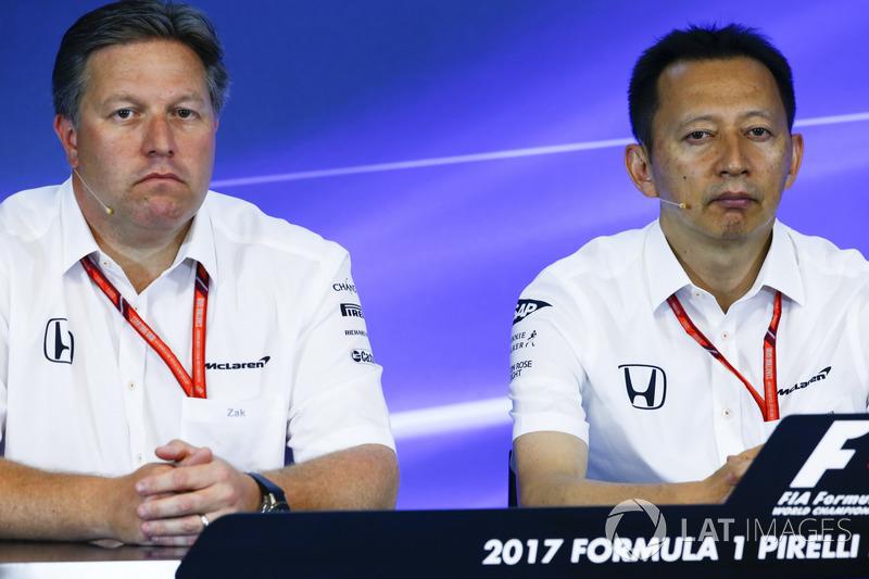 Zak Brown, Executive Director, McLaren Technology Group, Yusuke Hasegawa, Senior Managing Officer, Honda, in the FIA Press Conference
