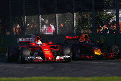 Sebastian Vettel, Ferrari SF70H, battles with Max Verstappen, Red Bull Racing RB13