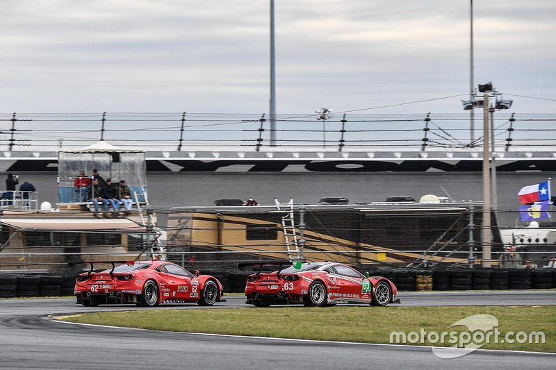 #63 Scuderia Corsa Ferrari 488 GT3: Christina Nielsen, Alessandro Balzan, Sam Bird, Matteo Cressoni, #62 Risi Competizione Ferrari 488 GTE: Toni Vilander, Giancarlo Fisichella, James Calado