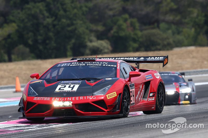 #24 Reiter Young Starts Lamborghini Reiter Gallardo R-EX: Caitlin Wood, Marko Helistekangas, Tomas Enge