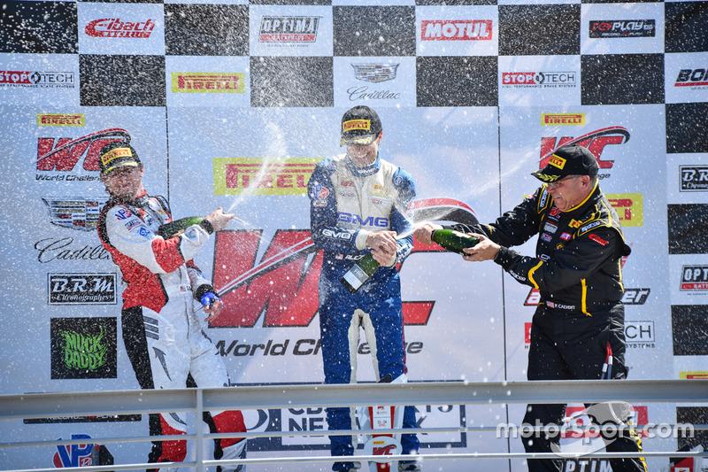 Podium GT-Cup: 1. Aled Udell, Global Motorsports Group; 2. Sloan Urry, TruSpeed Autosport; 3. Preston Calvert, Calvert Dynamics