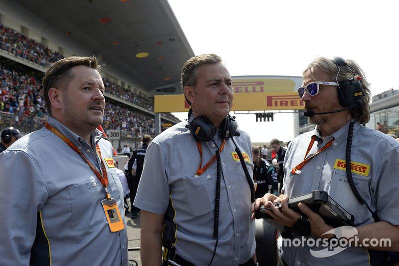Paul Hembery, Pirelli Motorsport Director, Mario Isola, Pirelli Racing Manager and Massimiliano Damiani, Pirelli Chief Engineer on the grid