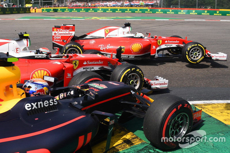 Sebastian Vettel, Ferrari, Kimi Raikkonen, Ferrari, Max Verstappen, Red Bull Racing collide at La Source hairpin