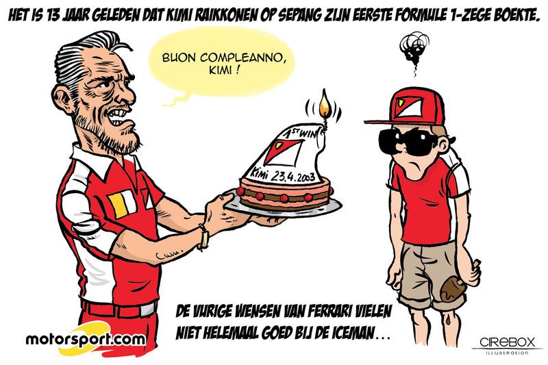 Cartoon van Cirebox - Viering van Kimis eerste F1-zege