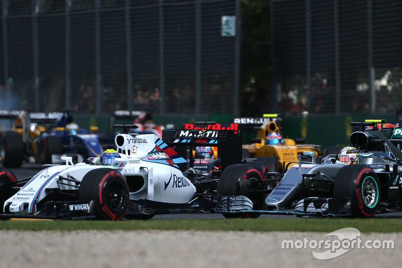Felipe Massa, Williams FW38 und Lewis Hamilton, Mercedes AMG F1 Team W07