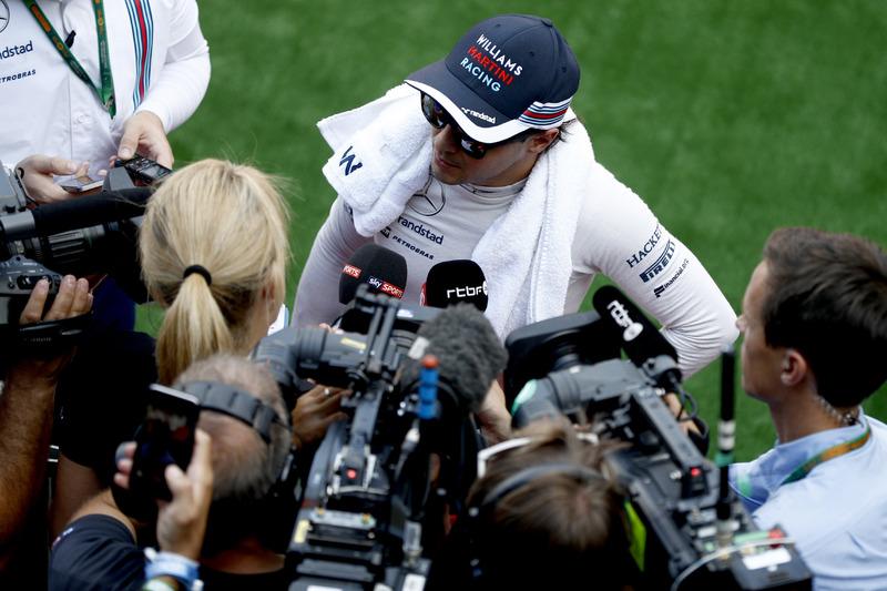 Felipe Massa, Williams Martini Racing, speaks to the press