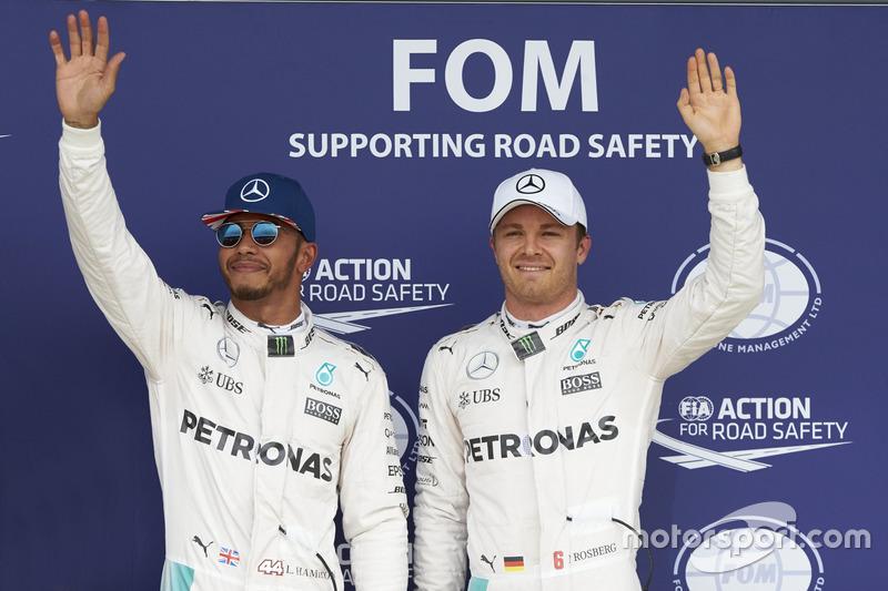 Lewis Hamilton, Mercedes AMG F1 and team mate Nico Rosberg, Mercedes AMG F1