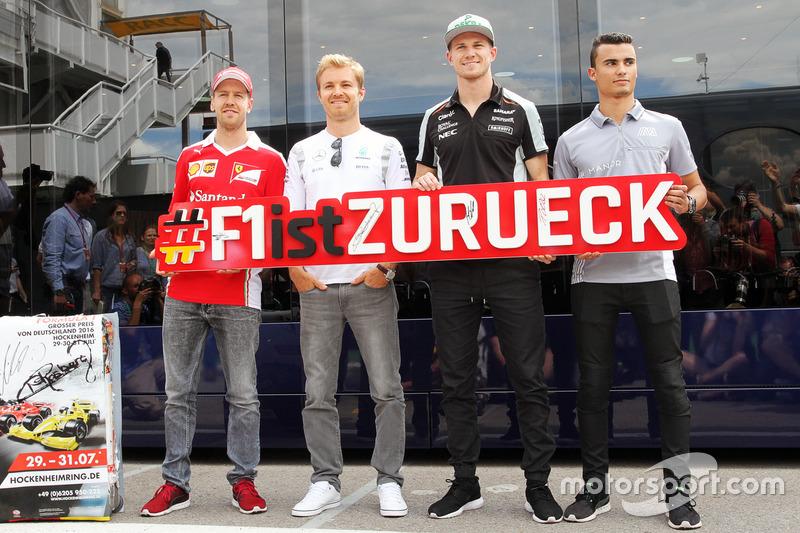 (Da Sx a Dx): Sebastian Vettel, Ferrari; Nico Rosberg, Mercedes AMG F1; Nico Hulkenberg, Sahara Forc