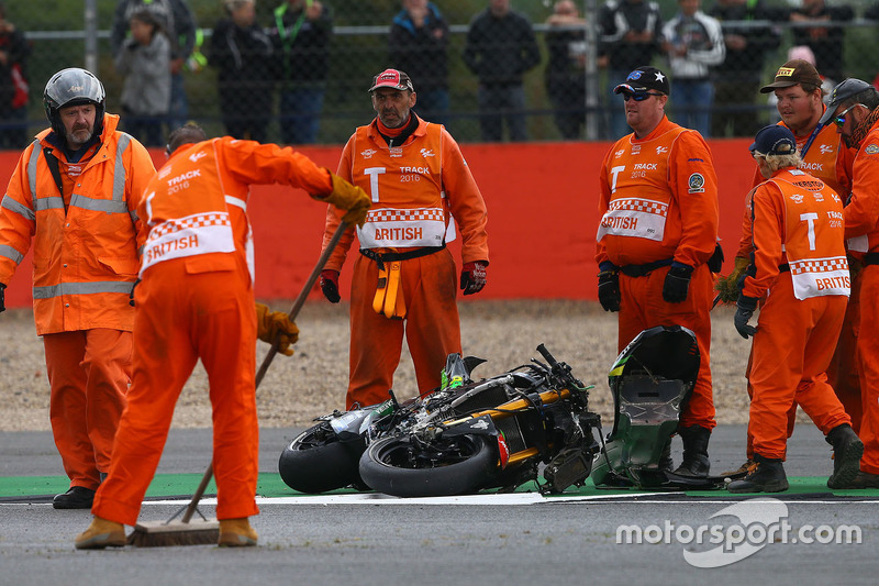 Bike of Pol Espargaro, Tech 3 Yamaha after his crash