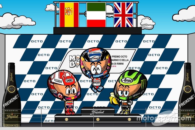 El podio del GP de San Marino 2018, por MiniBikers