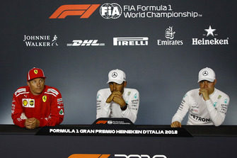 Press conference: race winner Lewis Hamilton, Mercedes AMG F1, second place Kimi Raikkonen, third place Valtteri Bottas, Mercedes AMG F1