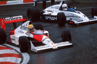 Ayrton Senna, McLaren MP4/5, Martin Brundle, Brabham BT58