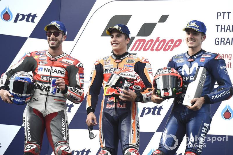 Podio: 1º Marc Marquez, 2º Andrea Dovizioso, 3º Maverick Viñales