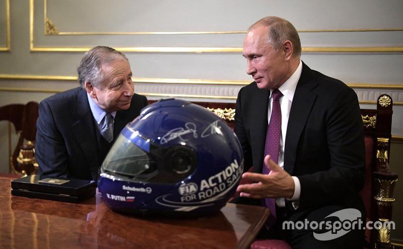 Vladimir Poutine, président de la Russie et Jean Todt, président de la FIA