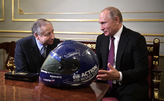 Vladimir Putin (Right), President of Russia and Jean Todt (Left), President of the Federation Internationale de l'Automobile (FIA)