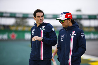 Sergio Perez, Force India, walks the circuit