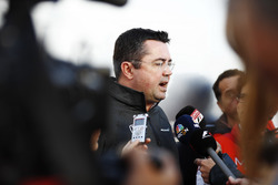 Eric Boullier, Racing Director, McLaren, is interviewed by the media