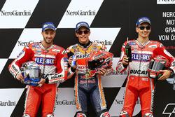 Polesitter Marc Marquez, Repsol Honda Team; 2. Andrea Dovizioso, Ducati Team; 3. Jorge Lorenzo, Ducati Team