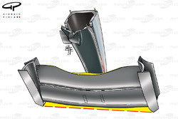 McLaren MP4-16 front wing, yellow highlight/red dots shows where mainplane used to reside
