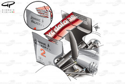 McLaren MP4-25 rear wing endplate louvres conjoined with flaps