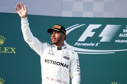 Lewis Hamilton, Mercedes AMG, 2nd Position, celebrates on the podium