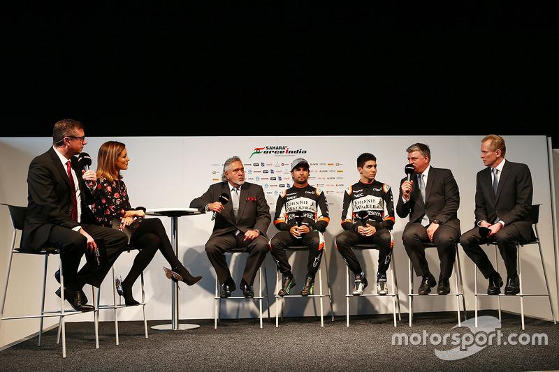 David Croft, Natalie Pinkham, Vijay Mallya, Sergio Perez, Esteban Ocon, Otmar Szafnauer, Andrew Green